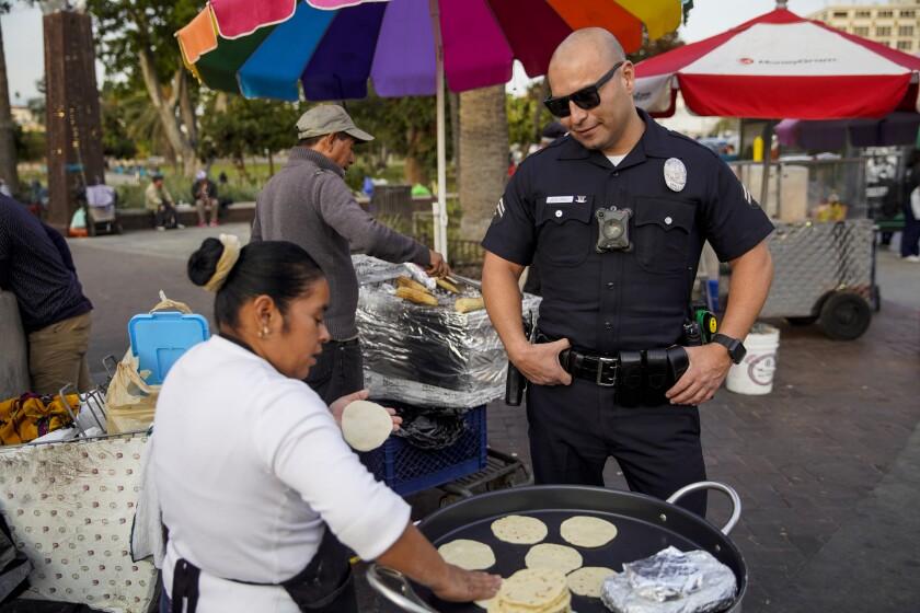 LAPD senior lead officer Robert Solorio near MacArthur Park