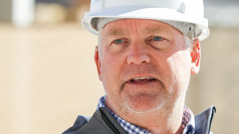 Robert C. Little, a senior vp at Kilroy Realty Corporation, speaks to a reporter on Thursday at the One Paseo development in the Carmel Valley neighborhood of San Diego, California.