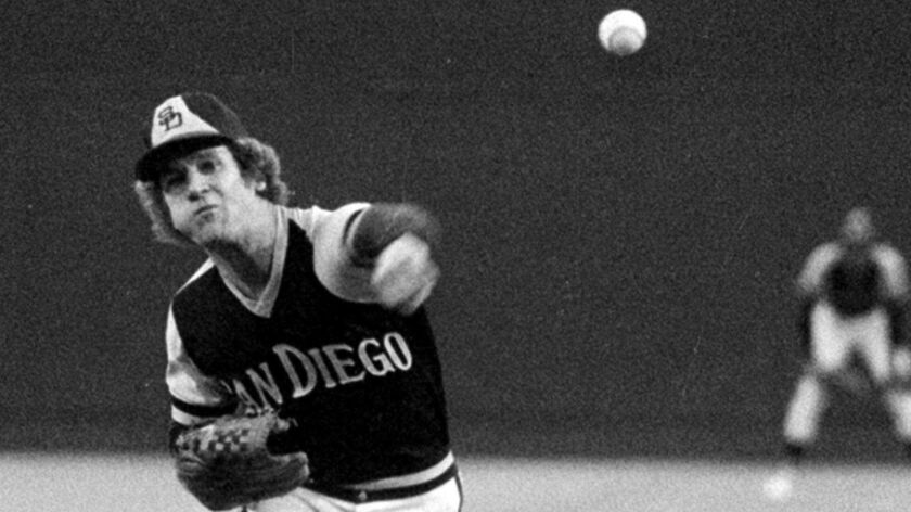 San Diego Padres pitcher Randy Jones, warms up Aug.18, 1976, for a night game at Busch Stadium in St
