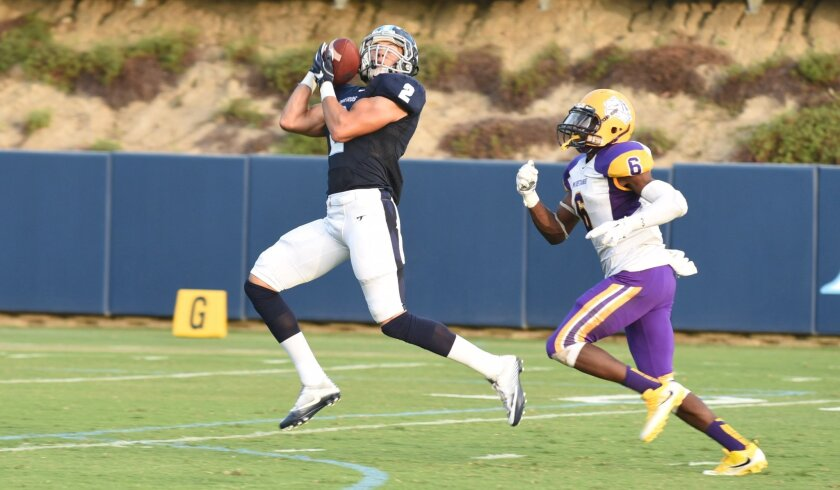USD receiver Brian Riley hauls in a 50-yard pass from Toreros quarterback Anthony Lawrence.