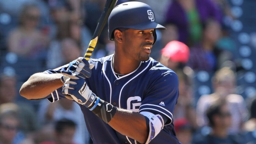 Padres' Jabari Blash waits for the pitch.