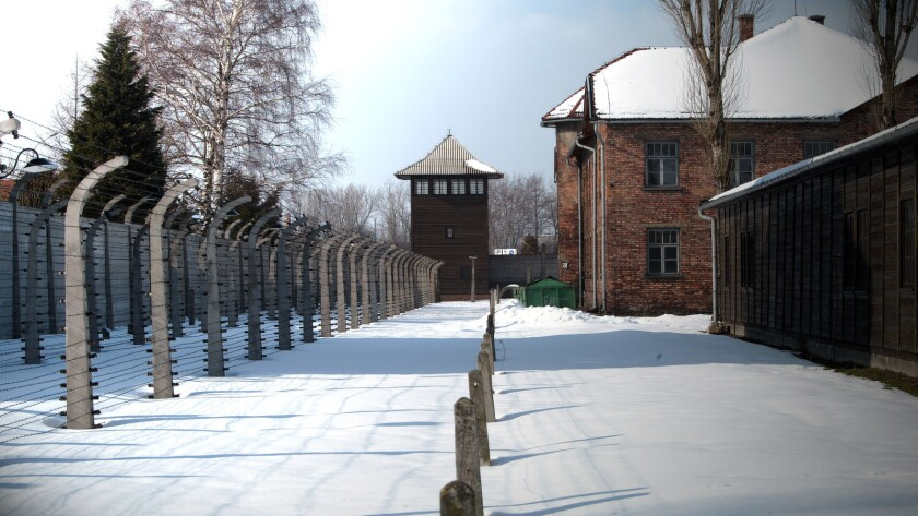 """A still photograph of Block 11 (Beath Block) in Auschwitz from the movie """"Destinations Unknown."""" Cre"""