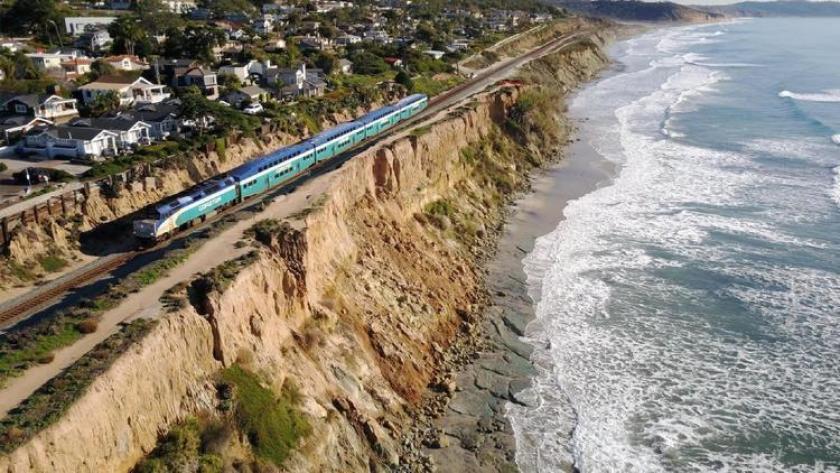 A train crosses the bluffs in Del Mar last December.
