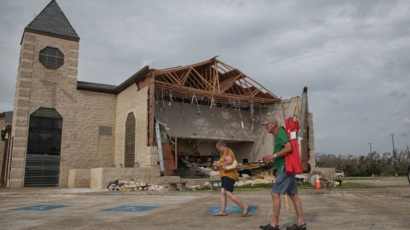 ROCKPORT, TEXAS, SUNDAY, SEPTEMBER 3, 2017 - Despite extensive damage to it's building, the First Ba