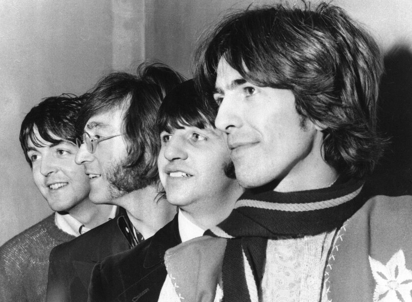 The Beatles, from left, Paul McCartney, John Lennon, Ringo Starr and George Harrison, in a 1968 file photo.