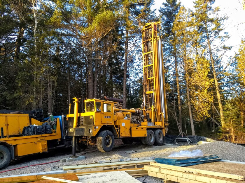This is a typical mobile well-drilling rig. The giant tower folds down parallel with the ground as it travels on roadways.