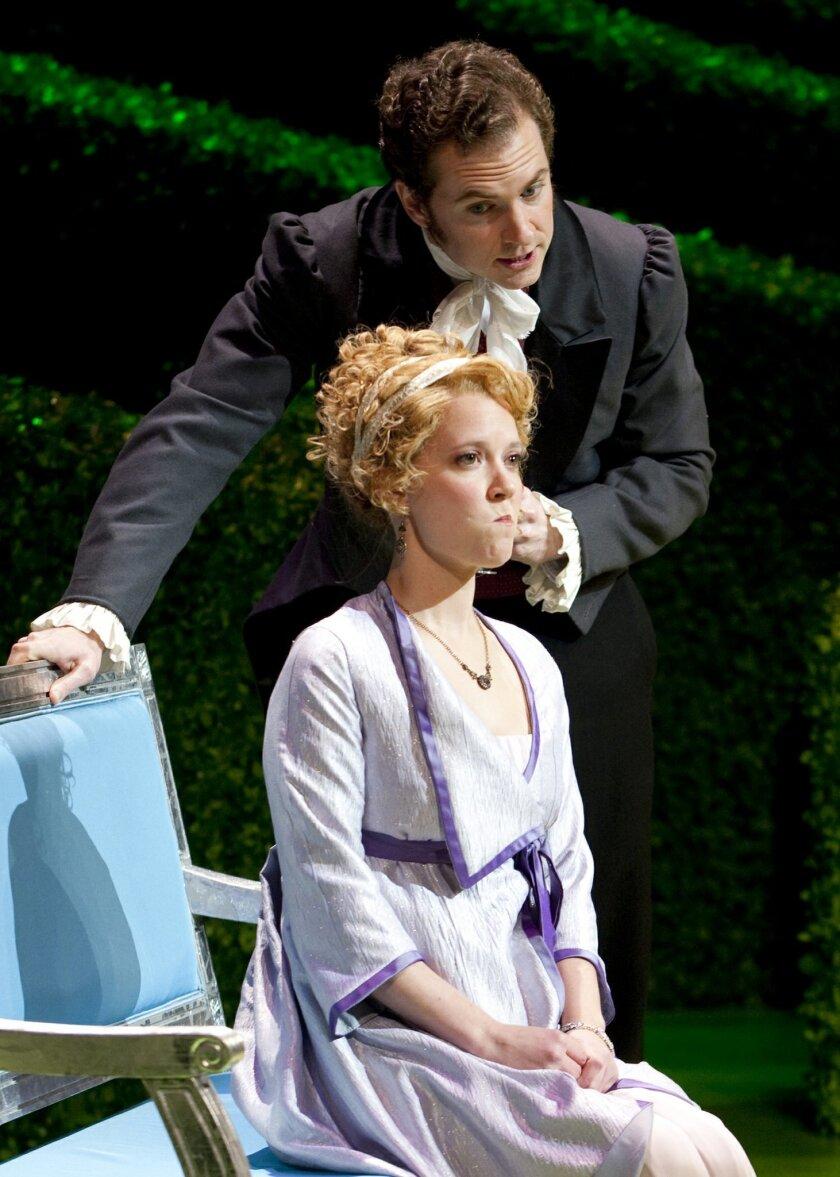 "Patti Murin and Adam Monley in ""Jane Austen's Emma: A Musical Romantic Comedy,"" at the Old Globe Theatre."