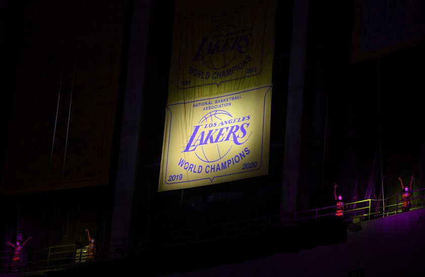 The Lakers unveiled their 2020 NBA championship banner before Wednesday's game against the Houston Rockets.