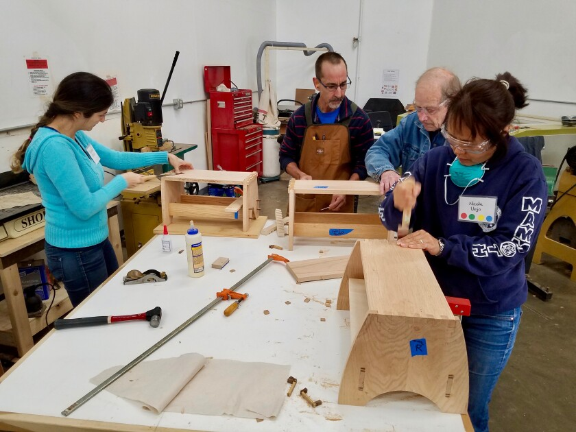 """The San Diego Fine Woodworkers Association and its president, Travis Good, have begun to see membership numbers increase by building """"a bridge between young adults and women and all these seasoned woodworkers."""""""
