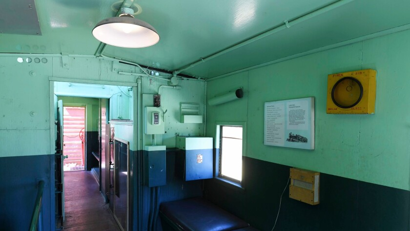 The interior of an old Union Pacific caboose is seen at the Clark County Museum Thursday, June 28, 2