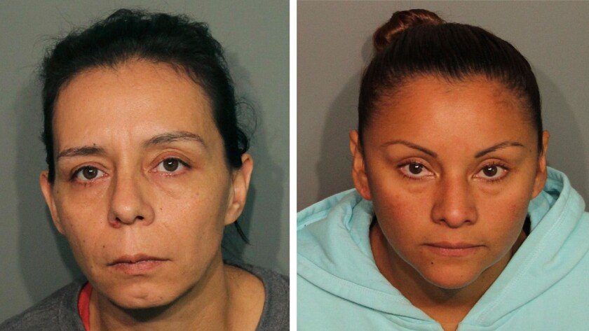 Guadalupe Sierra Arrellano, left, and Medarda Urbieta Estudillo were arrested on charges of holding multiple men captive at an illegal marijuana plantation in Northern California and forcing them to work there for several months.