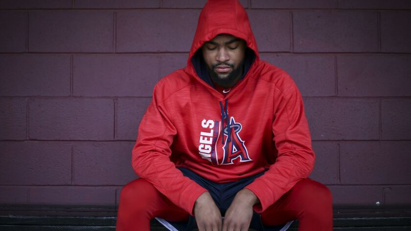 Angels prospect, centerfielder Jo Adell, 19, in the baseball dugout at Ballard High School in Louisville, Ky. on Jan. 29. The Los Angels drafted Adell with a 10th overall selection in 2017.