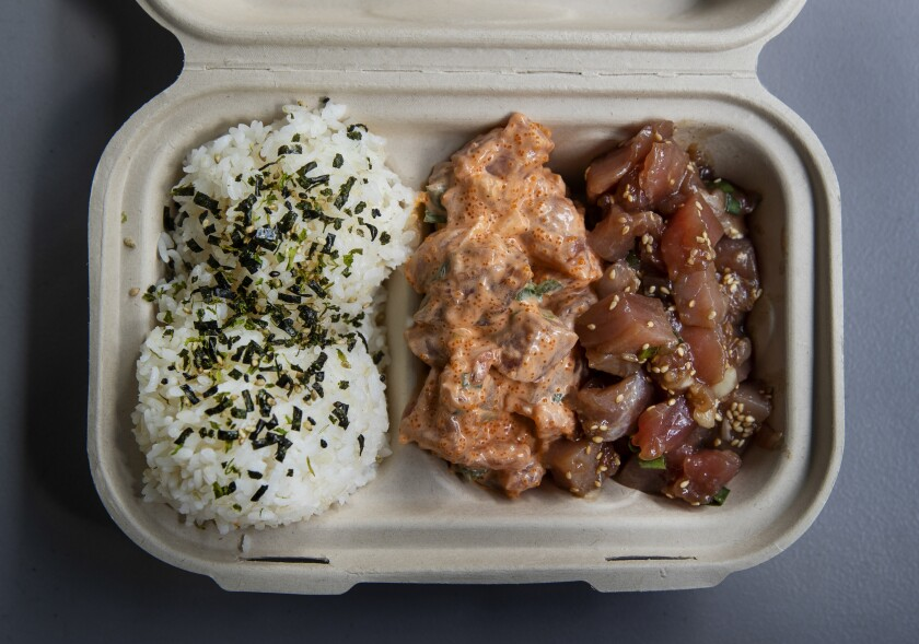 Try an ahi bowl, $13.50,  at Suisan Fish Market in Hilo, Hawaii.