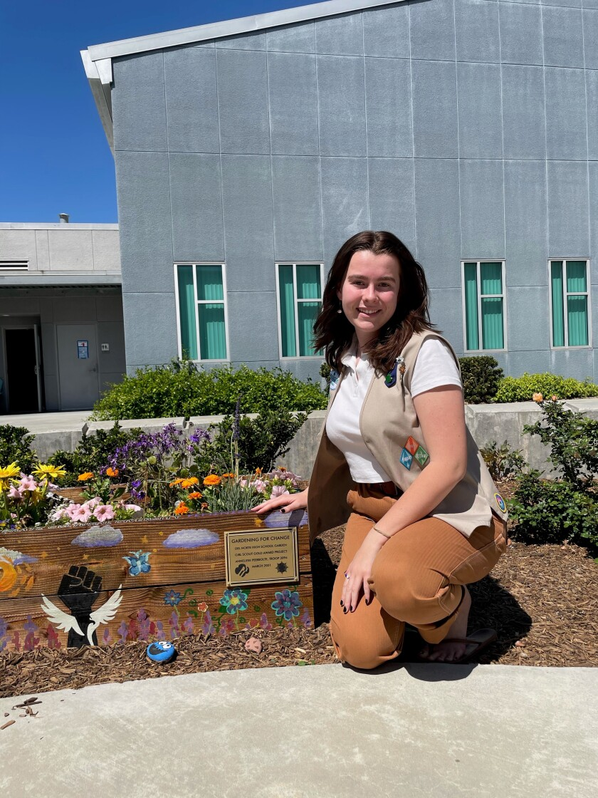 Del Norte High School junior Anneliese Peerbolte earned her Girl Scout Gold Award with a garden project at her school.