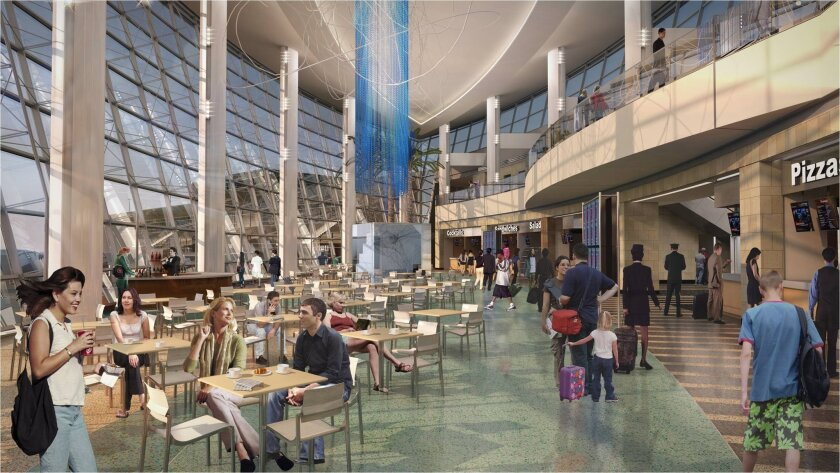 Artist's rendering of the interior of airport's Paradise Cove in new Terminal 2 West addition.