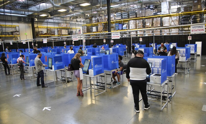 San Diego residents fill out their ballots.