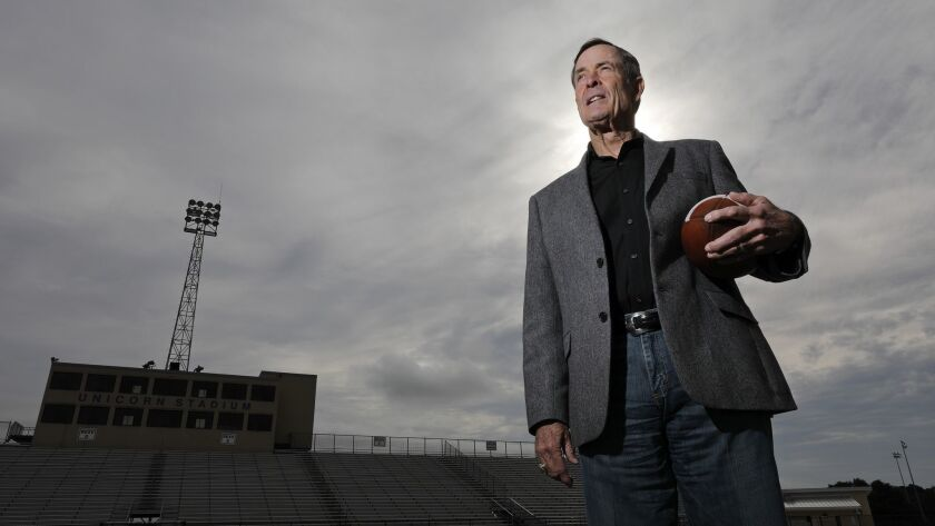Portrait of former New Braunfels High School football coach Tim Kingsbury at the school Wednesday De