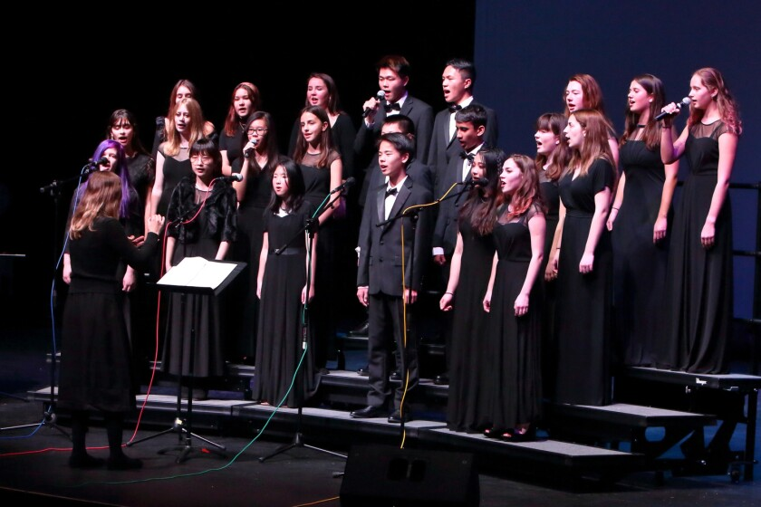 The Torrey Pines High School choir directed by Amy Gelb