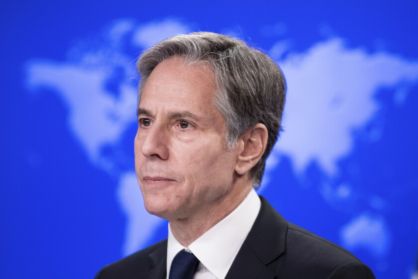 Secretary of State Antony Blinken speaks about refugee programs for Afghans who aided the U.S., during a briefing at the State Department, Monday, August 2, 2021, in Washington. (Brendan Smialowski/Pool via AP)
