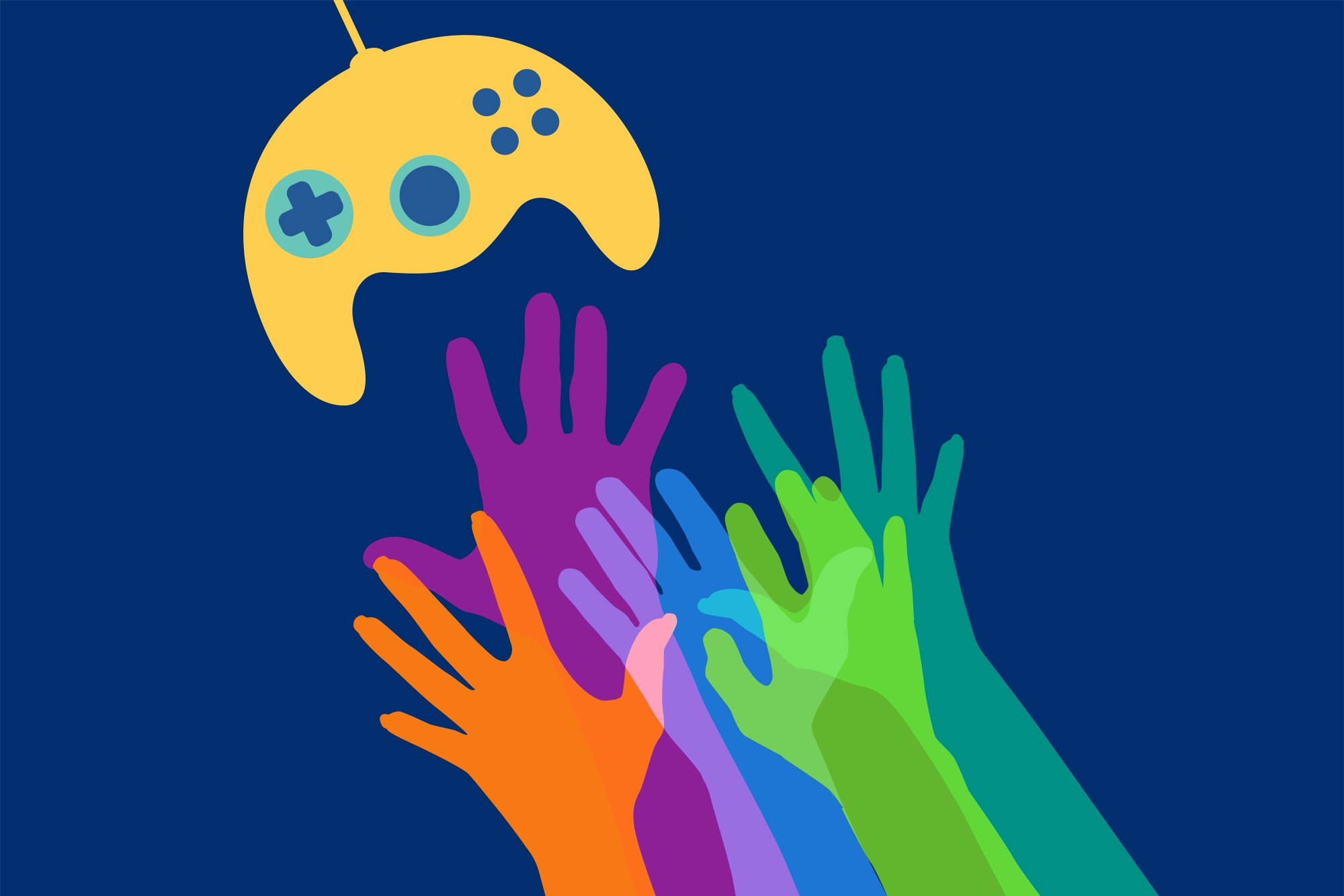 Illustration of hands reaching for a video game controller
