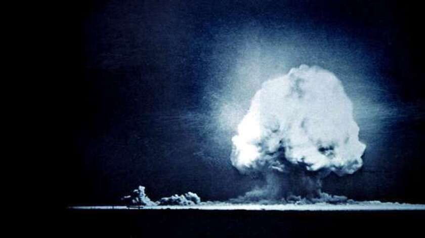 The first explosion of an atomic bomb, pictured above, took place in New Mexico in 1945.