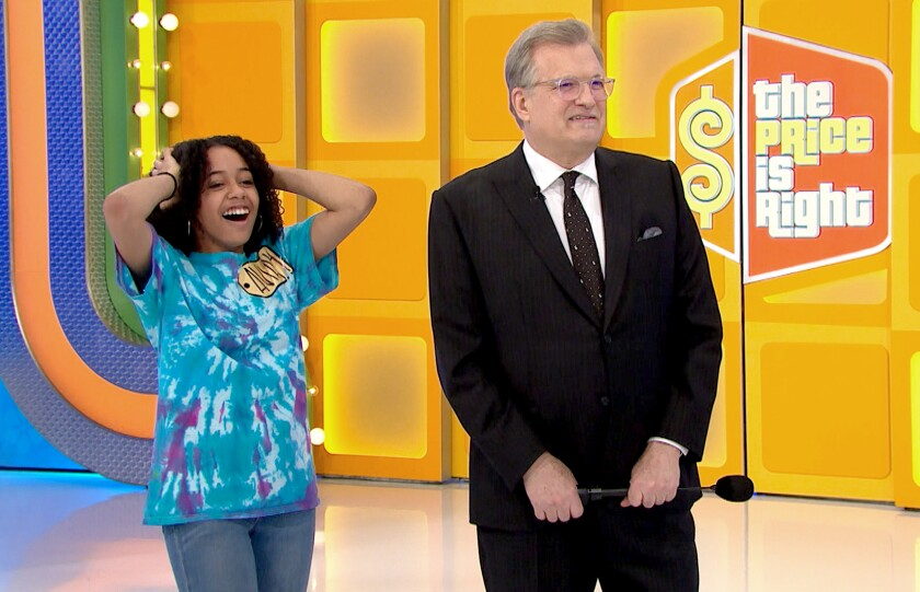 "Burbank High School sophomore Aviah Priestley, left, will appear in an upcoming episode of ""The Price is Right"" on April 23. She attended the taping prior to the coronavirus pandemic."