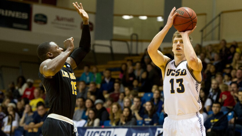 Adam Klie, shown in a game earlier this season, scored 18 points in UCSD's victory over San Francisco State in the title game of the CCAA Tournament.