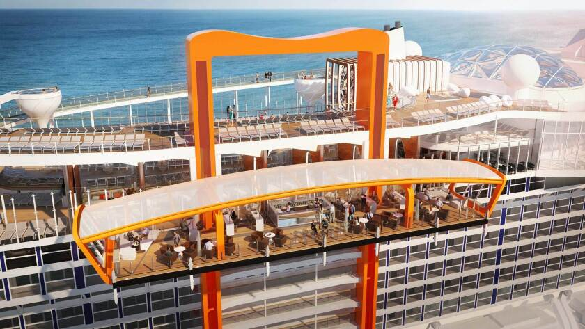An artist's rendering of the Magic Carpet, Celebrity's name for the moving platform that travels up and down the side of the ship. Sometimes its a restaurant, sometimes it's an extension of the pool deck.