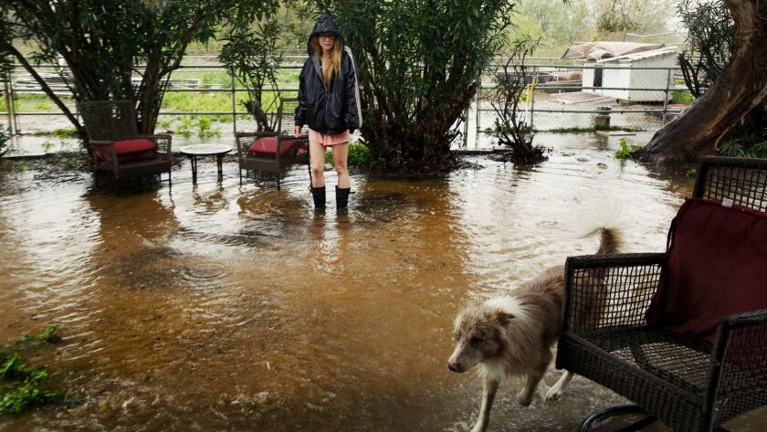 Caroline Sullivan along with her dog Felix return back to their home in the Tijuana River Valley off Hollister in February after heavy rains caused flooding.