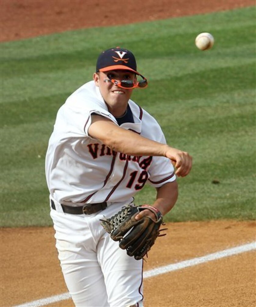 FILE - In this Saturday June 12, 2010 file photo Virginia third baseman Steven Proscia looses his sunglasses as he makes a throw during the NCAA college super regional against Oklahoma in Charlottesville, Va. Virginia is ranked No. 1 in this weekend's NCAA Regionals. (Photo/Andrew Shurtleff,File)