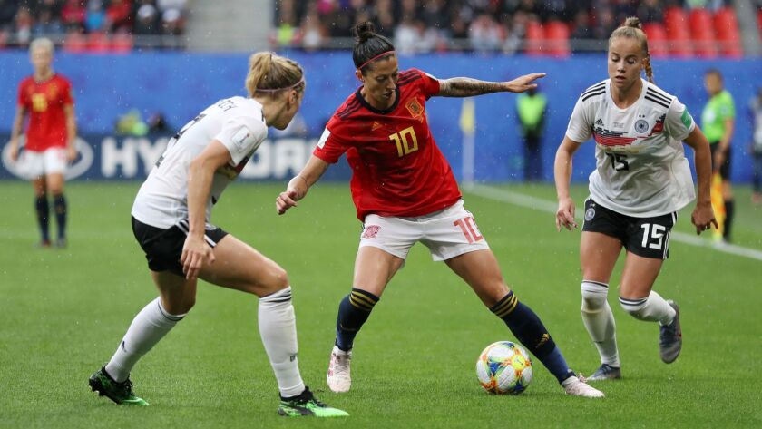 Spain's Jennifer Hermoso controls the ball during a match against Germany in the Women's World Cup on Wednesday.