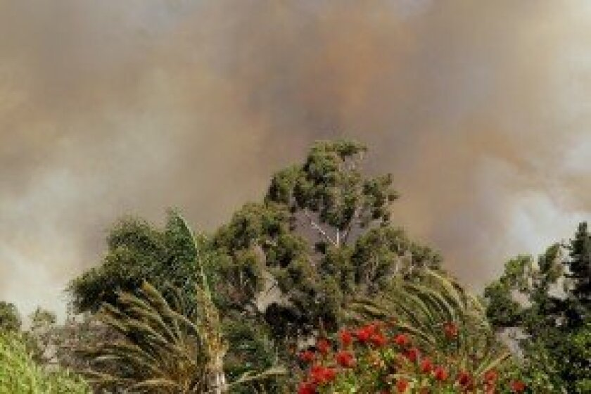 The Poinsettia Fire moving through Carlsbad. Photo by Jon Clark