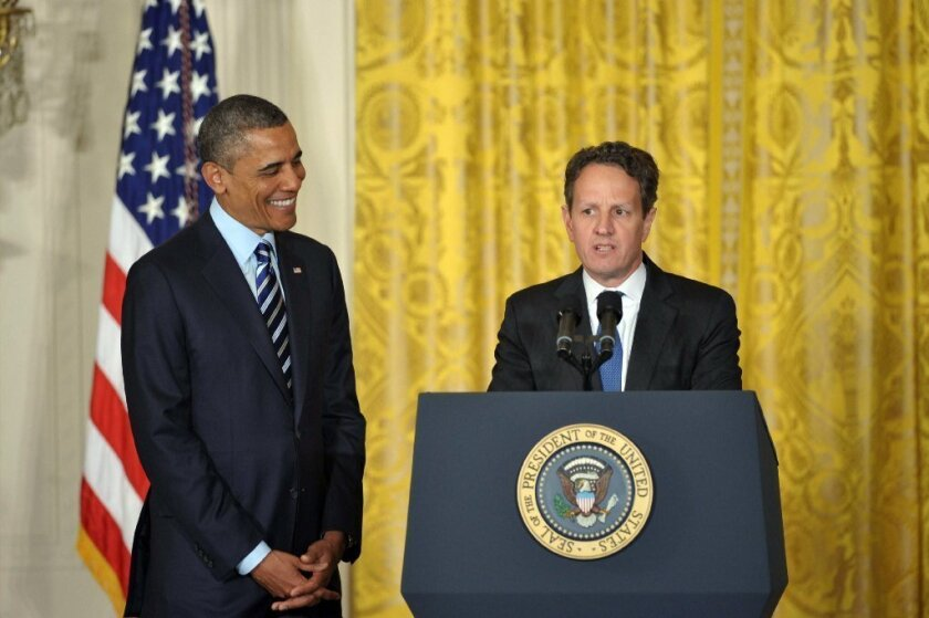 """Treasury Secretary Timothy F. Geithner, shown with President Obama last week, says failing to raise the debt ceiling """"would impose severe economic hardship on millions of individuals and businesses across the country."""""""