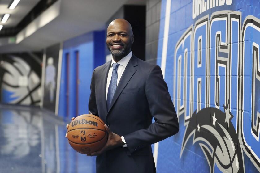 The Orlando Magic's new head coach, Jamahl Mosley, smiles Monday, July 12, 2021, in Orlando, Fla. (Stephen M. Dowell/Orlando Sentinel)