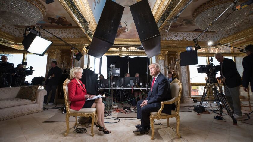 Lesley Stahl interviews President-elect Donald Trump at his New York home on Friday.