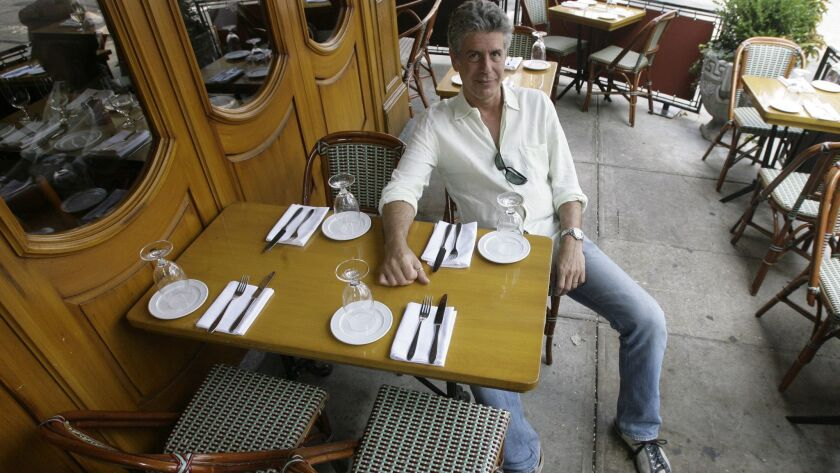 """Anthony Bourdain, host of theTravel Channel's """"No Reservations,"""" poses in a New York restaurant, Wed"""