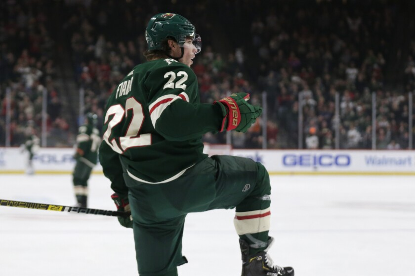 Minnesota Wild left wing Kevin Fiala celebrates his goal against the Nashville Predators during the first period of an NHL hockey game Tuesday, March 3, 2020, in St. Paul, Minn. (AP Photo/Andy Clayton-King)