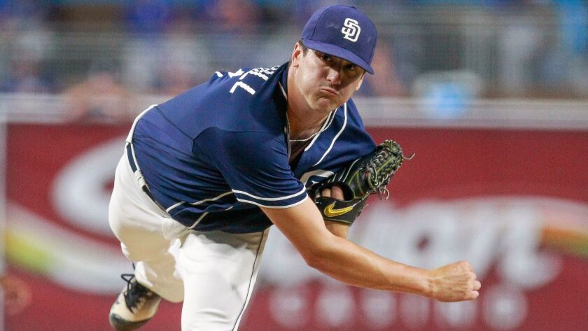 SAN DIEGO , October 7, 2016 | The Padres' Cal Quantrill pitches to the Texas Rangers during the Padr