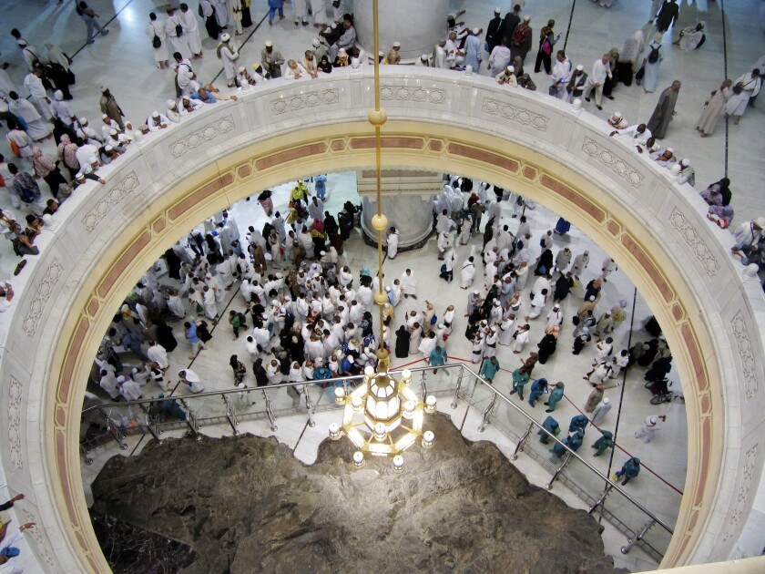 Pilgrims pray near Safa hill at the Grand Mosque during the hajj in Mecca, Saudi Arabia.