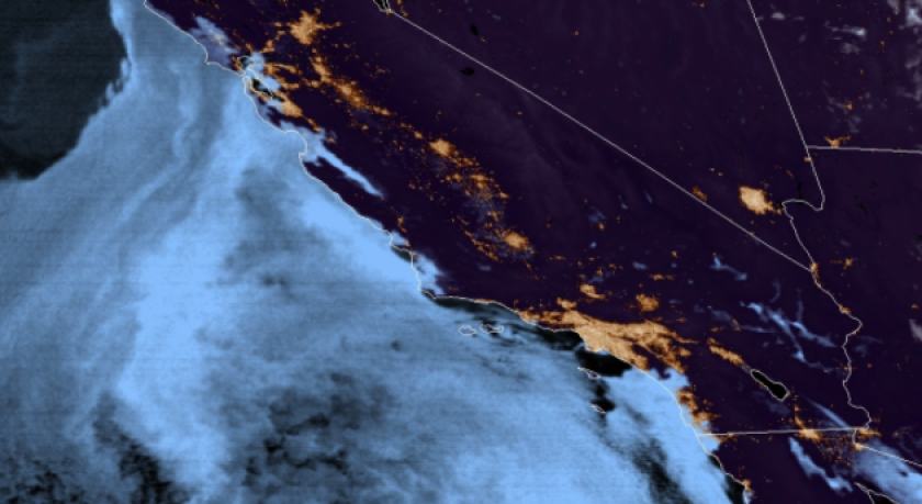 The San Diego County marine layer at 1 a.m. Friday.