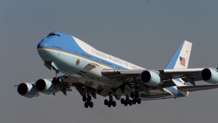 A familiar sight: Air Force One departing California in February 2016 after another successful fundraising foray.