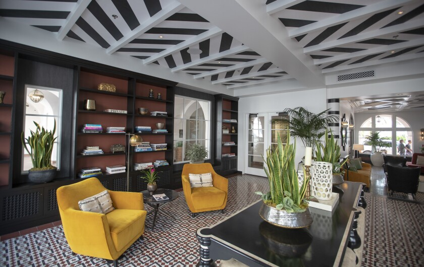 SANTA BARBARA, CALIF. -- THURSDAY, JULY 26, 2018: Library sitting area at The Hotel Californian on t