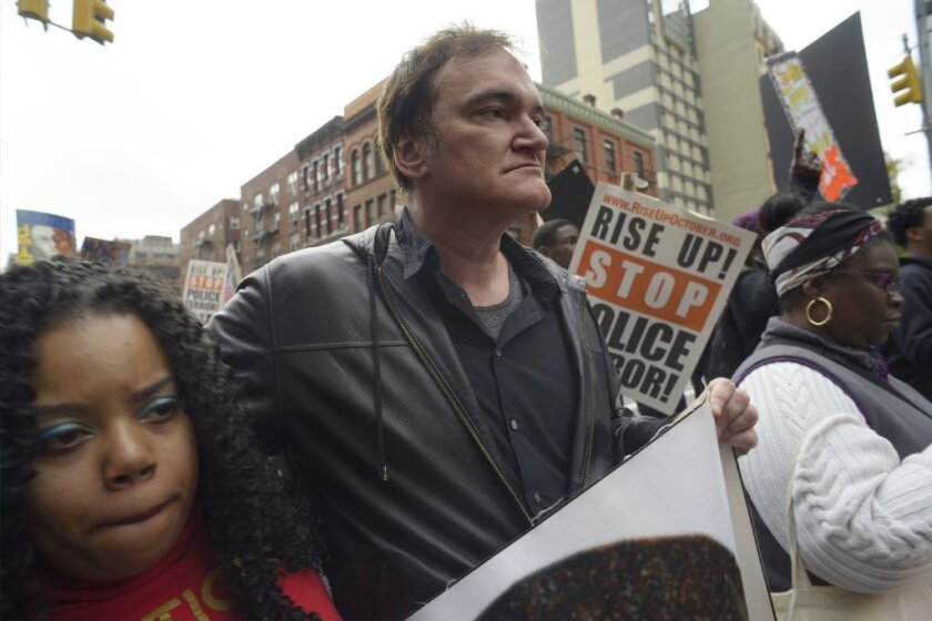 Director Quentin Tarantino participates in a rally to protest police brutality in New York.