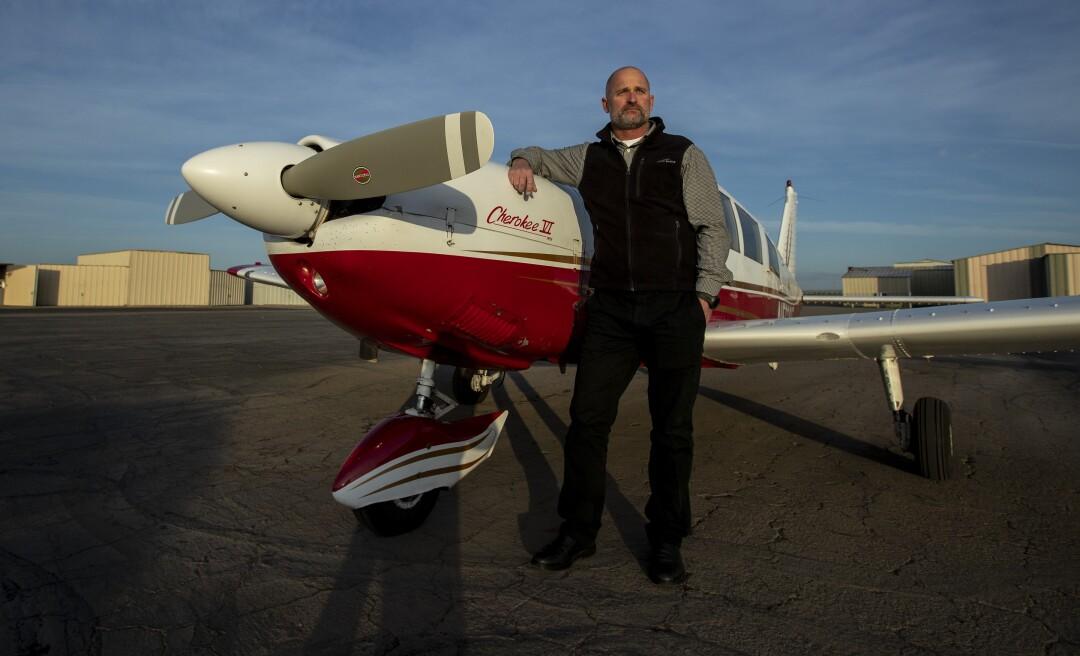 Pilot and former CHP Officer Scott McFarlane at Turlock Municipal Airport
