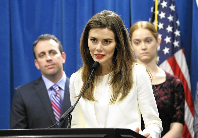 Former fashion model Nikki DuBose discusses some of the health issues models face during a news conference in Sacramento, Calif. on April 6.