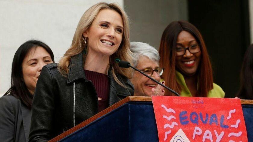 California First Partner Jennifer Siebel Newsom, center, the wife of Gov. Gavin Newsom, speaks at an event on April 1, 2019, in Sacramento.