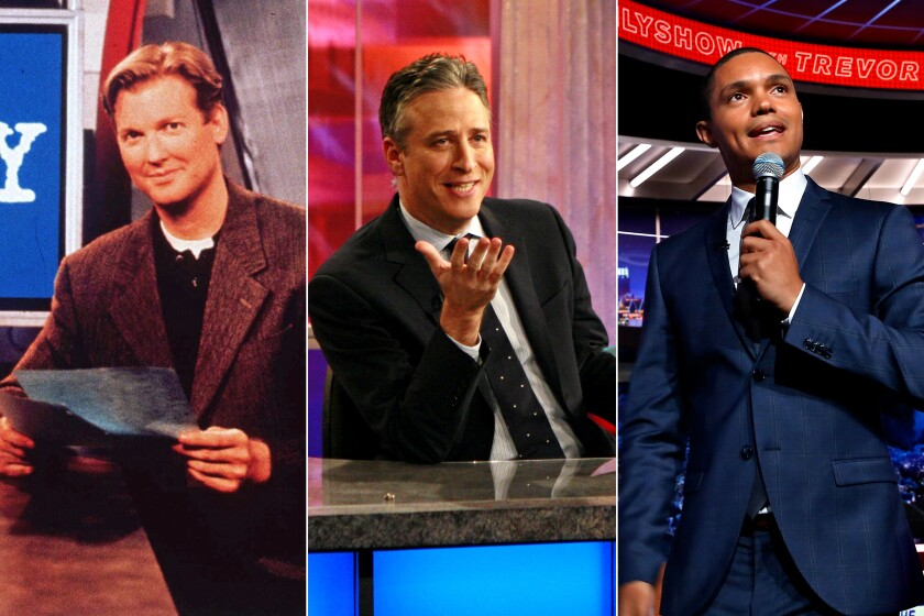 "A triptych of the three hosts in ""Daily Show"" history: Craig Kilborn, Jon Stewart and Trevor Noah"