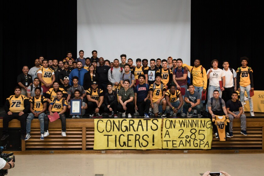 San Fernando won last year's Academic Challenge competition sponsored by the Rams. Manual Arts will be honored on Friday by the Rams for winning this year's competition for most improved GPA.