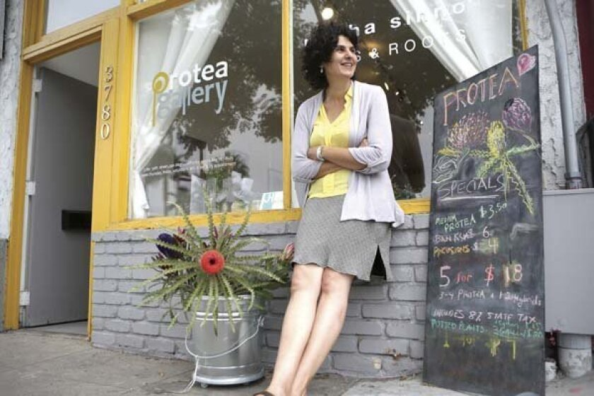 Artist Doris Bittar outside her North Park gallery. Amy McDonald/U-T San Diego