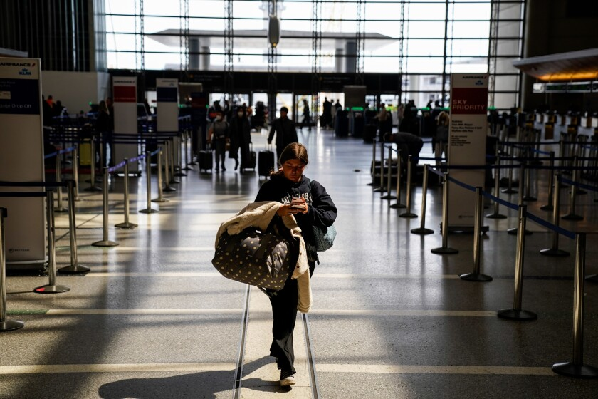 The number of fliers has dwindled at LAX since the national emergency was declared.